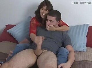 cute wife initiates his great slave with a handjob work