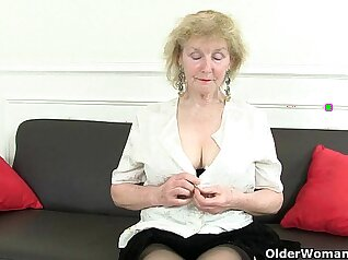 British Granny with her big tits in control