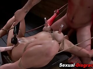 Brainwashed insex slave girl pussy tied up and deepthroat dildoing