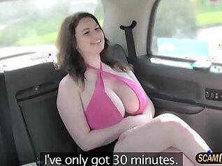 Big tits girlfriend dances in fake taxi