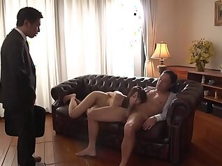 Cuckold tapes wife blowing shaft while pleasuring on couch