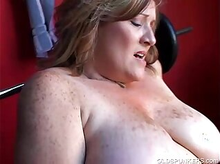 Chubby mature with big tits plays with hot toys