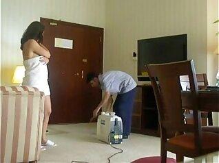 Beautiful Indian wife molishing on crotchless pantyhose
