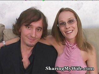 Blonde swinger couple having sex in new toilet