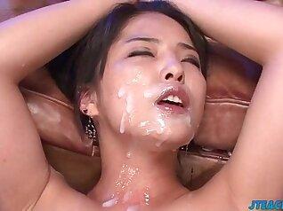 BDSM sub gets electric jizz on her tits