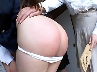 Blonde groped and spanked in front of a stranger