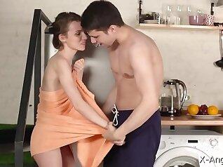 Orgasm in the kitchen