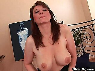Busty mature eurobabe rides and sucks cock