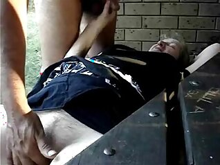 Amateur perverts in fishnets teasing outdoor orgy