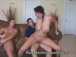 Big tits babe masturbates before sharing a guy
