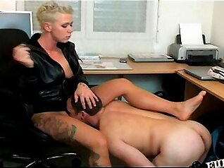 Blonde femdom Mistress humiliates sub by his rule