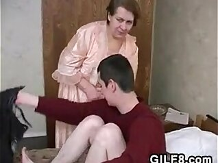 Big tit girl fucked by young granny in swimming pool
