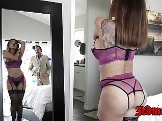 Asian babe sucks cock and squirts in pink lingerie