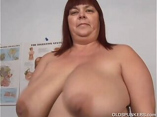 Busty mature mum with large tits and fat pussy fucks