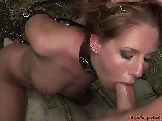 Blonde slave ladygirl restrained with iron bars