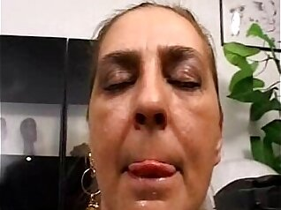 Mature collared intern in office assfucked by older man