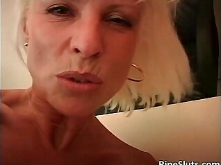 Curly blond mommy with yummy boobies jumps on giant ramrods and gets her whack