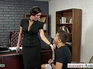 Busty brunette tramp rides and sucks tasty penis of her gothic love teacher