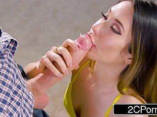 Sexy stepsister rides boyfriends big dick and deepthroats